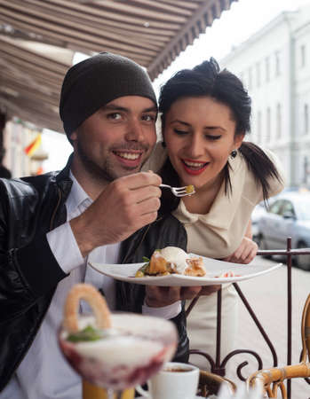 Happy Beautiful couple relaxing on the open air Stock Photo - 16636641
