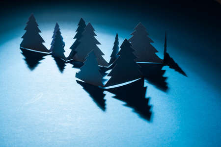 Christmas trees made of paper photo