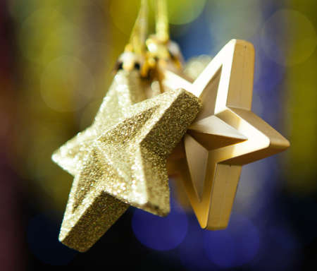 Christmas decoration against lights blurred background photo