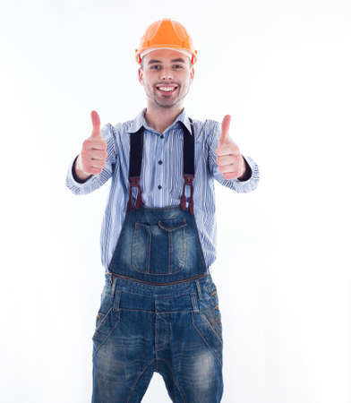 Portrait of a construction worker with hardhat making thumbs up sign Stock Photo - 16657476