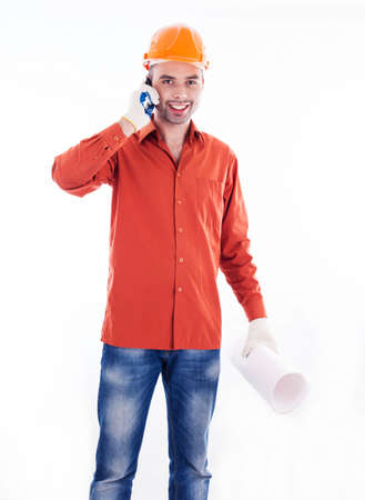 A builder with telephone Stock Photo - 16657467