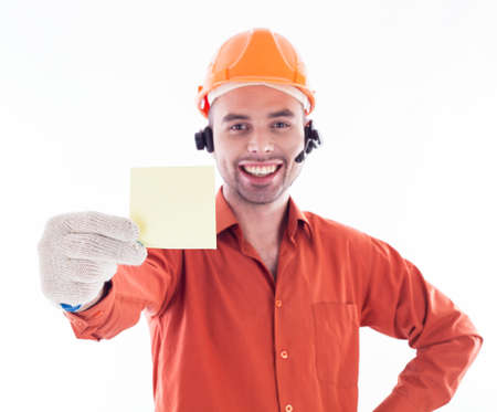 wireman: Builder holding a business card