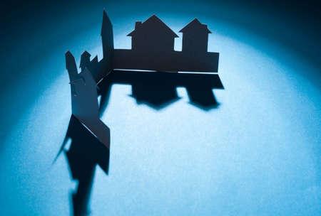 Knipsel papier huizen met elkaar verbonden Stockfoto