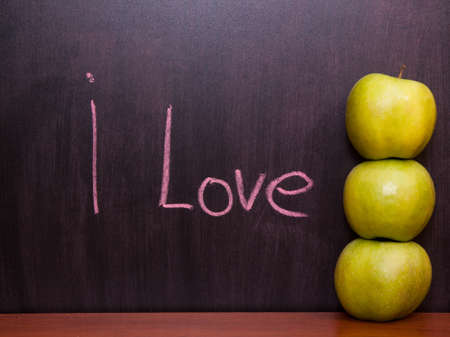 Classroom chalkboard with apples. Stock Photo - 19290071
