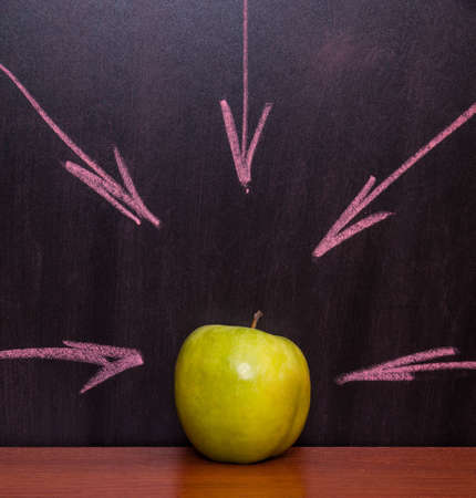 Classroom chalkboard with apples. photo