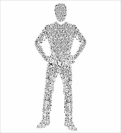human figure in molecular appearance on the white background, vector illustration Vector