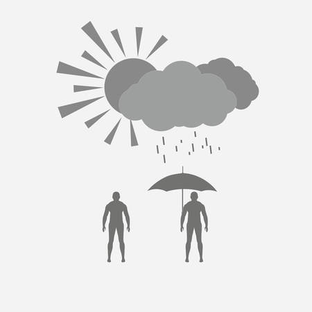 rung: Weather concept, human figures, the sun and the rainy clouds