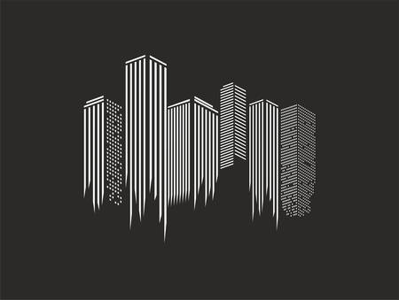 city icons illustration over the black background, vector illustration Illustration