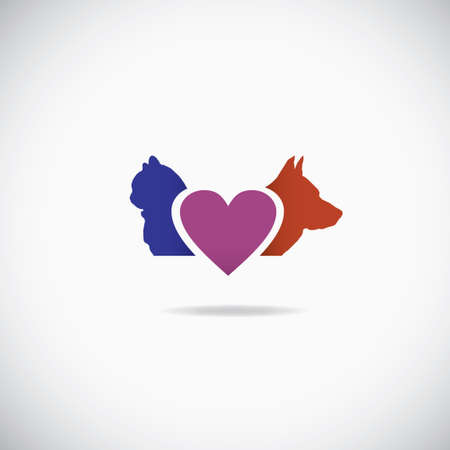 Background of a cat and a dog with a heart between them photo