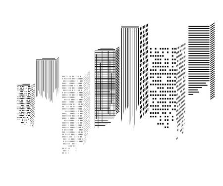 Abstract morden city skyscrapers icons, vector illustration
