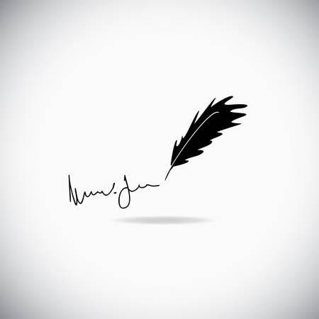 Illustration de la plume avec une signature sur le fond blanc
