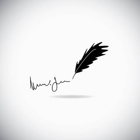 Illustration of feather with a signature over the white background