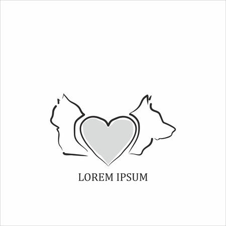 Animal icon. cat and dog with heart Vector