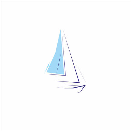 Abstract Sailing boat over the white background Vector