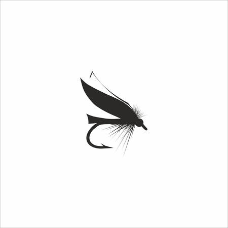 Abstrakt Fliegenfischen in schwarzer Farbe auf weißem Hintergrund