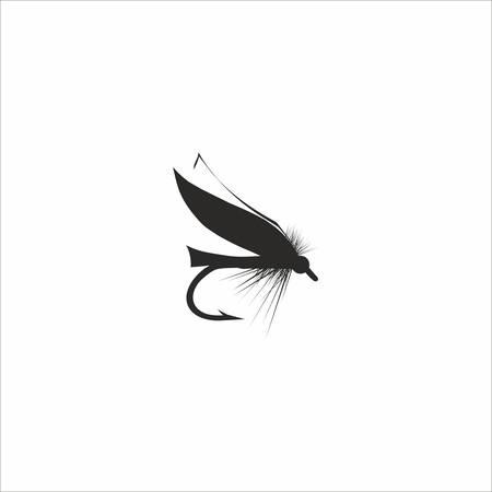 Résumé pêche à la mouche dans la couleur noire sur fond blanc