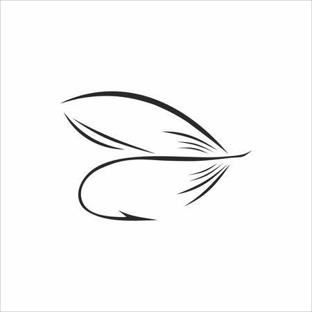 fluga: Abstrakt Flugfiske i svart färg på vit bakgrund Illustration