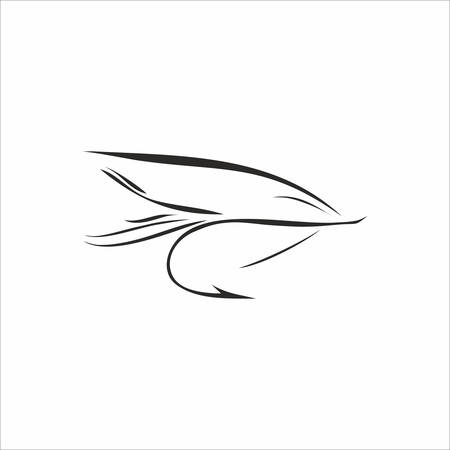 trout fishing: Abstract Fly-fishing in black color on white background