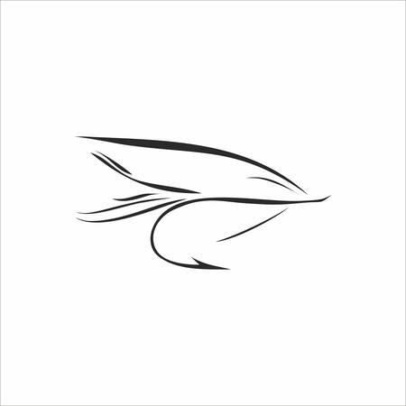 Résumé pêche à la mouche dans la couleur noire sur fond blanc Vecteurs