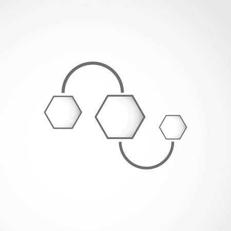 Hexagon 3d connection ovet the white, web design Vector