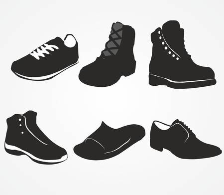 men's shoes: Set of icons of mens shoes on the white background Illustration
