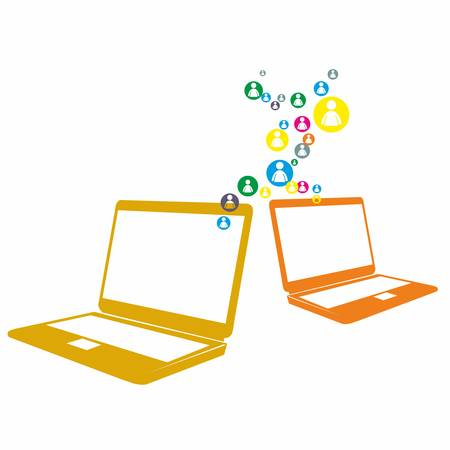 cite: Social computer network on the white background Illustration