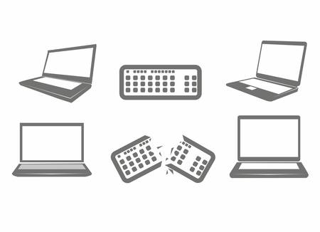 iconography: Illustration of computer icons, iconography computer and keyboard, vector illustration