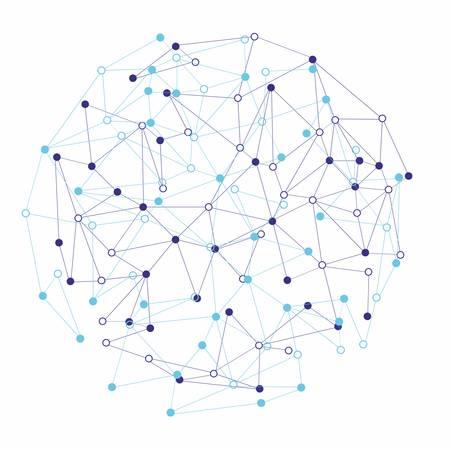 白い背景の上の分子とコミュニケーションの形  イラスト・ベクター素材