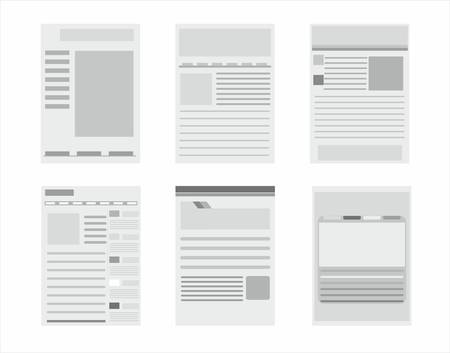 web site page templates collection on the white Vector