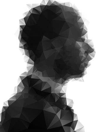 Profile of young man consisted of  triangles. Vector