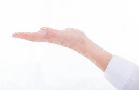 outstretched: Isolated female hand with palm in opened up position.