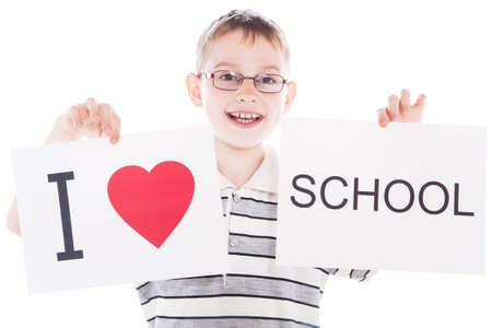 Happy boy with sign I love school photo
