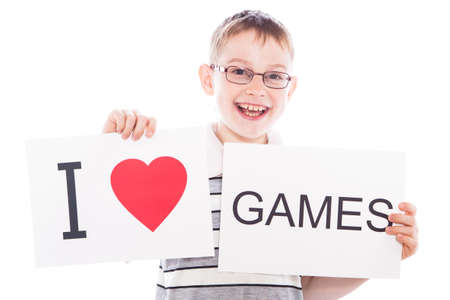 Happy boy with sign I love games photo