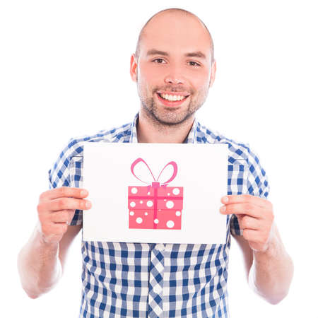 Happy young man with gift box sign photo
