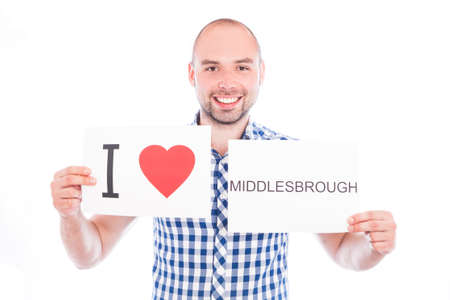 Man with  sign I love Middlesbrough . Series of man with English city signs photo