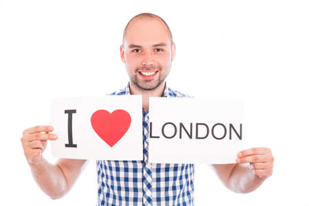 Man with  sign I love . Series of man with English city signs photo