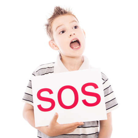 Happy boy with sos sign against the white photo