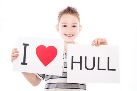Boy with  sign I love Hull   . Series of boy with English city signs photo