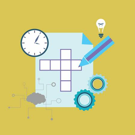 crossword: Crossword puzzle with different icons - vector illustration Illustration