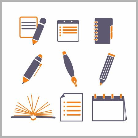 writing instrument: Icons of notepads and pencils - vector illustration Illustration