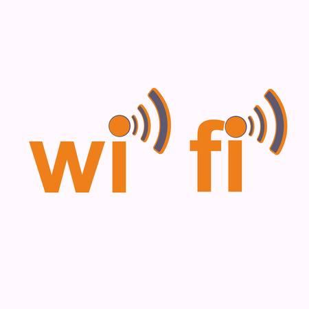 wimax: Wi fi icon over the white - vector illustration