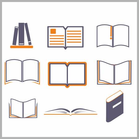 shelf with books: Icons of books over the white - vector illustration
