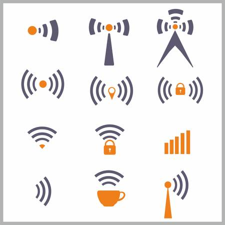 wimax: Wireless network symbol over the white - vector illustration Illustration