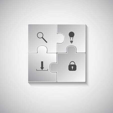 Puzzle piece infographics business concept vector. On the gray. Vector