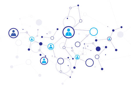 job recruitment: Human model connection on the white background Illustration