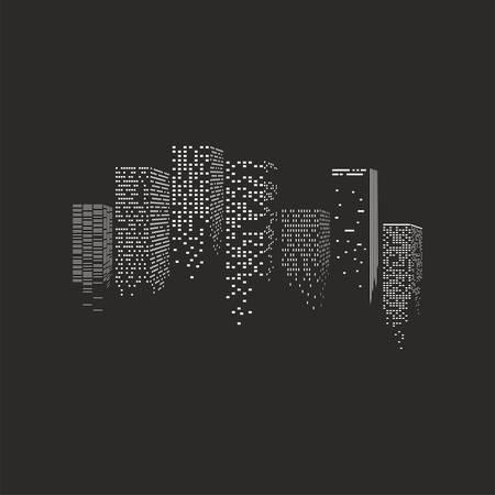 밤 도시의 그림 - 검은 배경 위에 고층 빌딩 일러스트