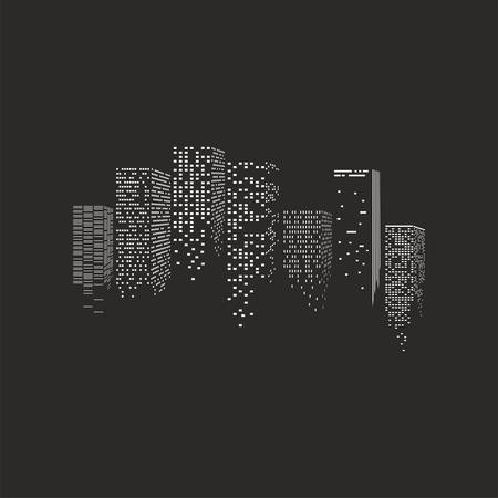 illustration of  night city - skyscrapers over the black background