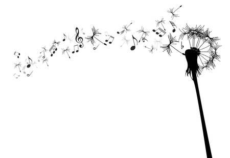 musical note: tarassaco con note musicali contro il bianco