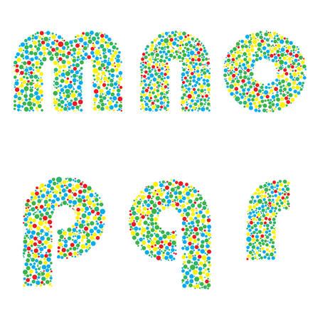 r p m: illustration of  letters M N O P Q R Illustration