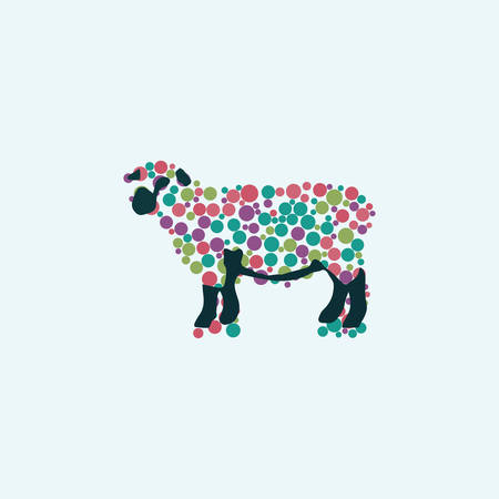 green cute: illustration of sheep against the white background